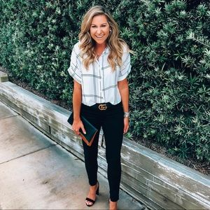 Windowpane cropped button down blouse